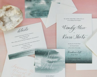 Watercolor Wedding Invitation with Custom Calligraphy - SAMPLE