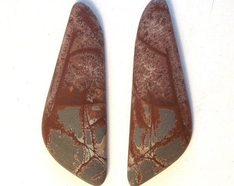 DVH Sonora Dendritic Rhyolite Butterfly Cut Matched Pair Cabochons 48x16x5mm (9734)
