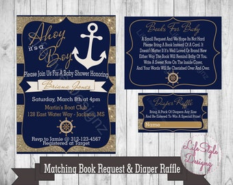 Nautical baby shower etsy nautical baby shower invitation ahoy its a boy anchor blue gold shower invite its a boy printable book request filmwisefo