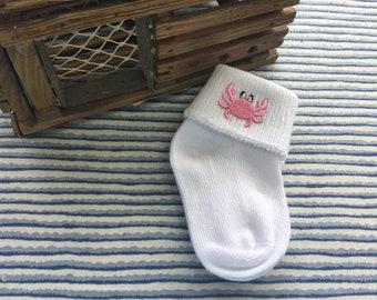 Pink Crab Baby Sock