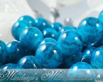 Teal/Blue Watercolor Wash Glass Beads 6mm