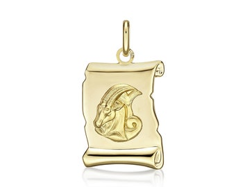 Medal Zodiac Capricorn scroll 20 mm, solid yellow gold 18 k box included