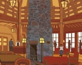 Timberline Lodge Lobby - Mt. Hood, Oregon (Art Prints available in multiple sizes)