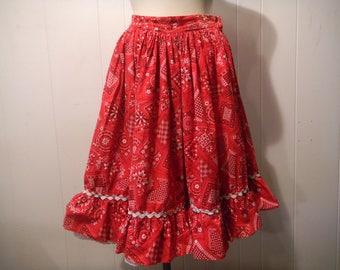 Vintage Skirt, bandana skirt, Rockabilly skirt, square dance skirt, 1950s skirt, vintage clothing, small