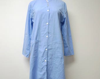 light blue button down . mandarin collar . shirt dress . large