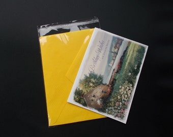 "200 A7+  5-7/16"" X 7-1/4""   Clear Resealable Cellophane Cello Bag Sleeves Plastic (for 5x7) Card + Envelope"