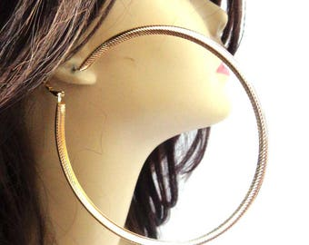 Large Hoop Earrings 4.25 inch Lined Round Hoop Earrings Classic Style Lightweight Hoops Gold or Silver tone