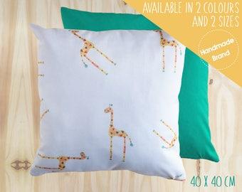 Girafe coussin, coussin enfant, bébé coussin, coussin animaux, Jungle coussin, coussin Safari, coussin carré, coussin de la chambre de bébé, vert