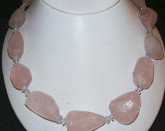 20 inch Rose Quartz couture necklace