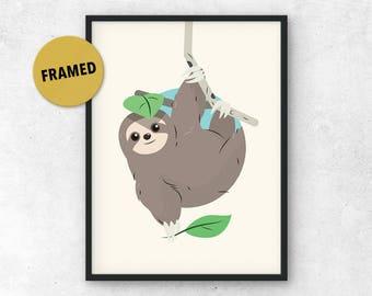 Sloth Print, Framed, Nursery Wall Art, Cute Sloth Art, Cute Animal Print, Nature Art, Kids Room Decor, Art for Kids, Animal Nursery Print