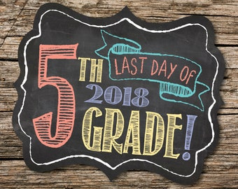 Last Day of 5th Grade Sign, Last Day of School Sign, Last Day of School, Back to School, School Chalkboard, Instant Download, Printable Sign