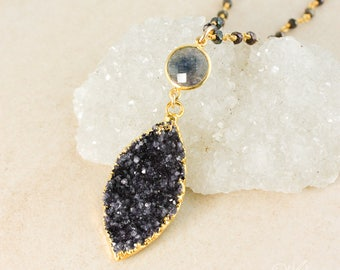 50% OFF SALE - Gold Blue Iolite & Black Druzy Leaf Necklace - Black Pyrite Chain