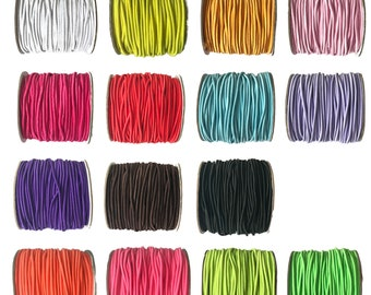 Elastic cord, Round Elastic Cord, 2mm - choice of colours and metres