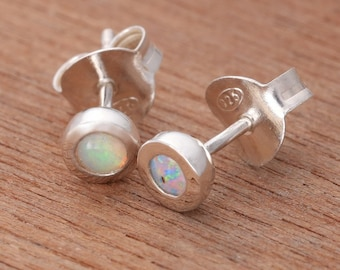 0.14ct Solid White Opal Earrings in Sterling Silver, Unique Natural Australian Opal Jewelry SKU: 1939A095