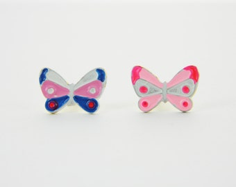 Vintage Butterfly Pin Duo - Pink and Blue