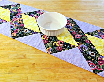 Quilted Table Runner, Modern Runner, Fabric Table Runner, Geometric Runner, Quilted Table Topper, Purple Table Runner, Twisted Table Runner