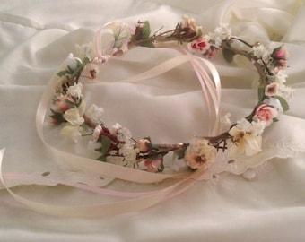 Weddings Vintage Flower crown Ready Ship Bridal halo blush pink hair wreath Rustic Chic accessories gold champagne little girl photo prop