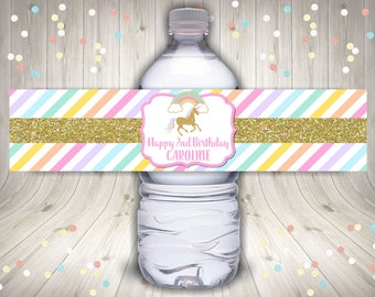 PERSONALIZED Printable Gold Glitter Unicorn Water Bottle Labels / Wrappers / Birthday Party / Unicorn & Rainbows Collection / Item #2527