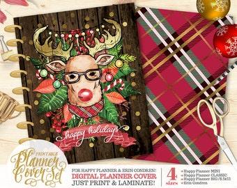 "50% OFF Printable Planner/Binder Cover SET - ""Holiday Reindeer"" | Happy Planner | Erin Condren | U.S. Letter Binder | Instant Download"