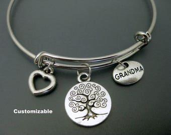 Grandma Bracelet / Grandma Bangle / Tree of Life Bangle / Nana Bracelet / Charm Bracelet / Adjustable Bangle / Expendable Bangle / Stackable