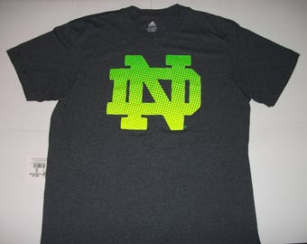 Adidas NOTRE DAME Gray Neon Logo T-shirt Size XL New without tags