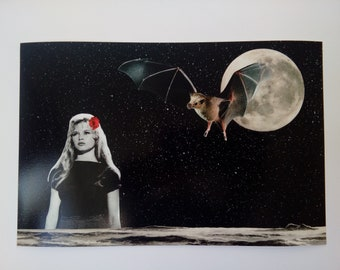 Bridget and the Bat Collage Print