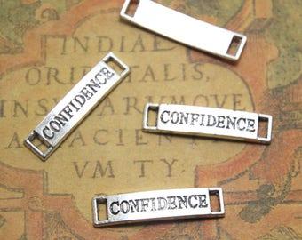 20pcs Confidence charms silver tone Rectangle Confidence Charm pendants, Confidence Tag Charm Connector 6x28mm ASD1321