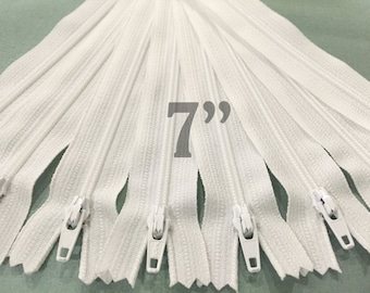 "25 7"" zippers ykk zippers nylon zippers white zippers wholesale zippers sampler pack zipper 7 inch ykk zippers - 25 pieces NYL07"