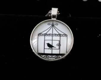 Bird in cage Locket and necklace
