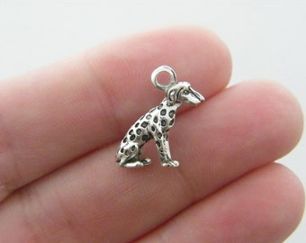 10 Dog charms antique silver tone A789
