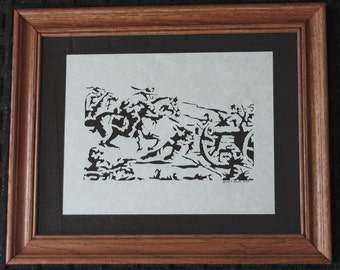 Civil War Charge - Scherenschnitte - Hand Paper Cutting Art signed and dated By Janet Lynch -11x14 Framed