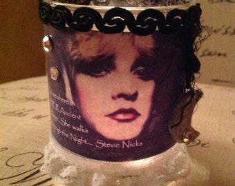 CANDLEBRIGHT, Stevie Nicks, photo art, song lyric, custom glass gypsy candle votive