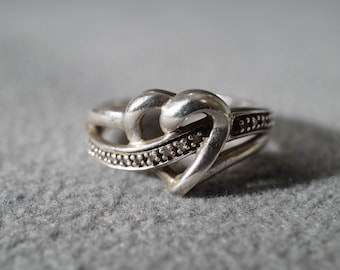 Vintage Sterling Silver Large Curled Bold Heart Design  10 Round Diamond Fancy Band Ring, Size 7