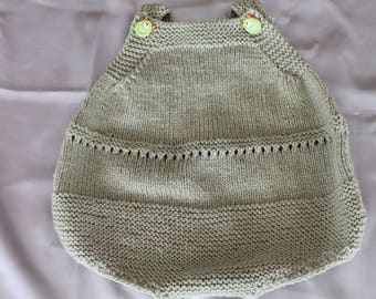 knit, Bodysuit, romper, green, baby, doll, baby corole, hand knitted