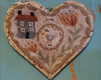 Primitive Punch Needle FINISHED Handmade Heart Flowers House Bird Hooked Mat Stitchery Punchneedle Hickety Pickety