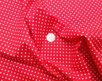 Rose & Hubble 100% Cotton Poplin Fabric - 3mm Polkadot Spot - Red - Dressmaking , Quilting, Craft Material