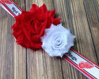 Detriot Red Wings Shabby Flower Headband, Newborn Headband, Baby Headband, Toddler Headband, Girls Headband, Professional Hockey Headband