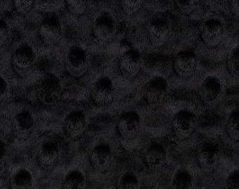 "MINKY DIMPLE Dot Cuddle Super Soft Plush Fabric Black remnant 4 pcs, 8x75"" selvage, cut off"