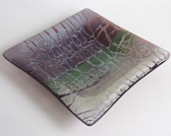 Fused Glass Dish in Periwinkle, Orchid, Plum, and Greens by BPRDesigns