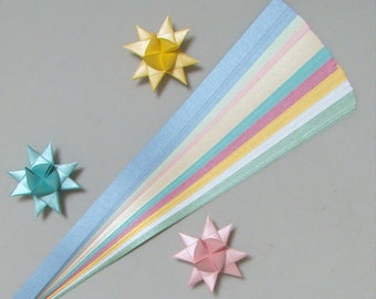Pearlescent Mix (9 or 10 colors) for making Moravian German Froebel Stars - various sizes (100 strips per pack)