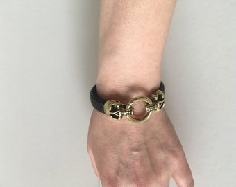 Black flat braid with clasp ring and skull leather bracelet