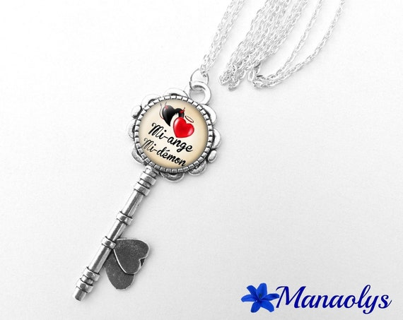 Silver key, message, Angel or demon 360 glass cabochon necklace