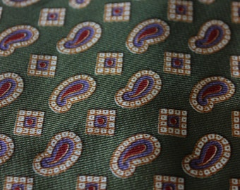 Paisley Olive Green Tie by Kipper and Gimbels, Wide Retro Neckwear