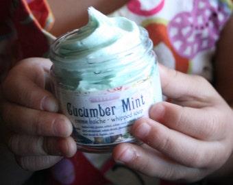 Whipped Soap Cucumber Mint 2 oz Mini Creme Fraiche Trial Sample Size VEGAN