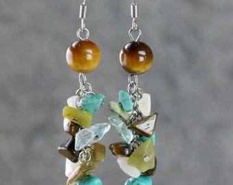 Tiger eye turquoise dangling chandelier earrings Bridesmaids gifts Free US Shipping handmade Anni Designs