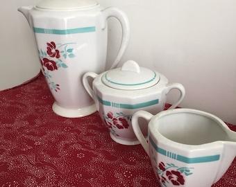 Coffee set vintage flowers