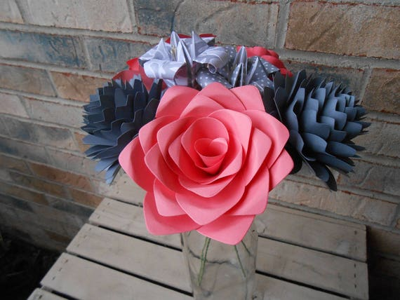 Coral & Gray Paper Flowers. Or CHOOSE YOUR COLORS. Centerpiece, Wedding, Paper Flower Bouquet, First Anniversary Gift, Mother's Day