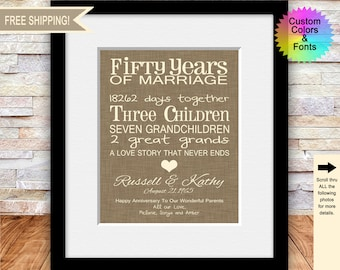 50th Anniversary Gifts for Parents, Fun 50th Wedding Anniversary Gifts, Personalized Parent's Anniversary Gift, A Love Story, Typography