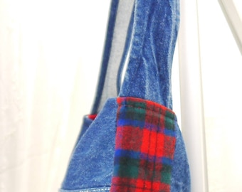Denim Purse, Buffalo Plaid and Denim Purse, Upcycled Coveralls, Upcycled Recycled Repurposed Purse, Small Purse, Buffalo Purse, Bag Again