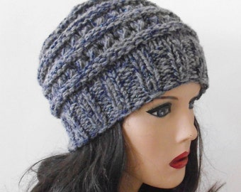 Grey Chunky Wool Hat. Slouchy Hat. Hand Knitted Hat. Winter Women Hat.